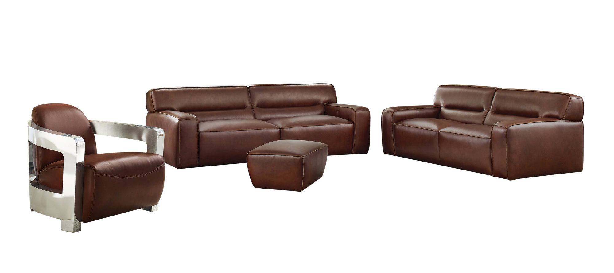 Sunset Trading Milan Leather 4 Piece Living Room Set -Brown by Sunset Trading - HomeKingz.com - Online furniture shop with the best prices & premium customer support!