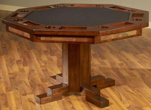 Convertible Poker & Dining Table Santa Fe with Pedestal Base by Sunny Designs