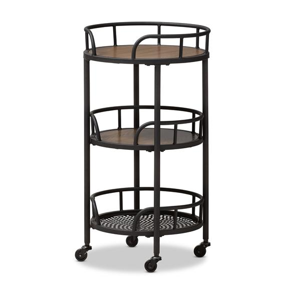 Baxton Studio Bristol Rustic Industrial Style Metal and Wood Mobile Serving Cart