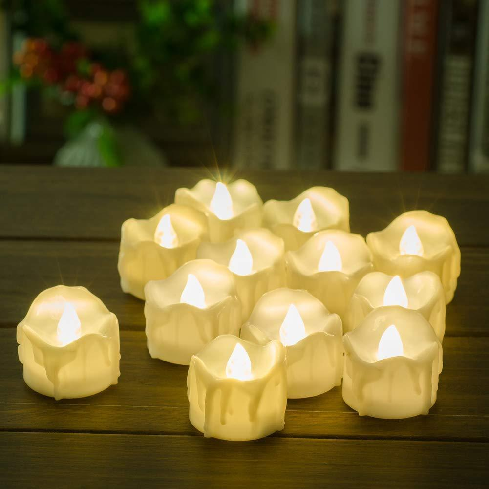 12pk Realistic /& Bright Flickering Bulb Battery Operated Flameless LED Tea Light