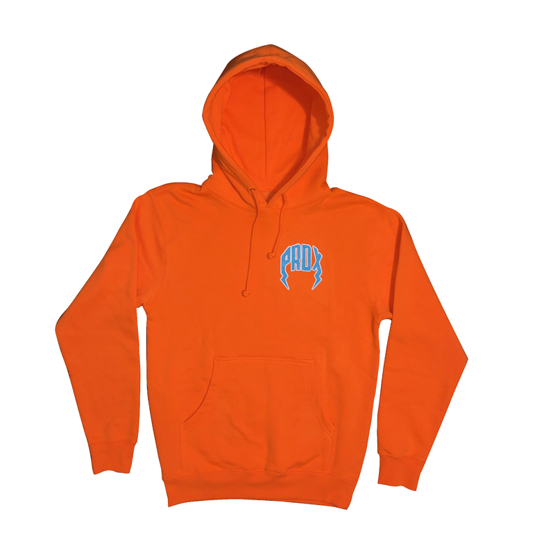 Lightning Arc Logo Pull-Over Hoodie (Neon Orange/Carolina Blue)