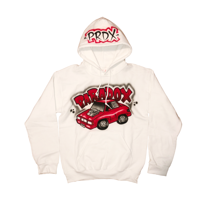 Airbrushed Vintage Car Pull-Over Hoodie (White/Black/Red)