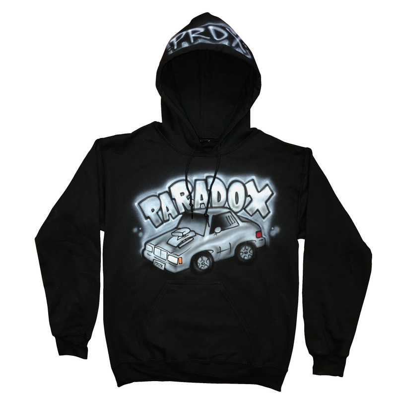 Airbrushed Vintage Car Pull-Over Hoodie (Black/White/Gray)