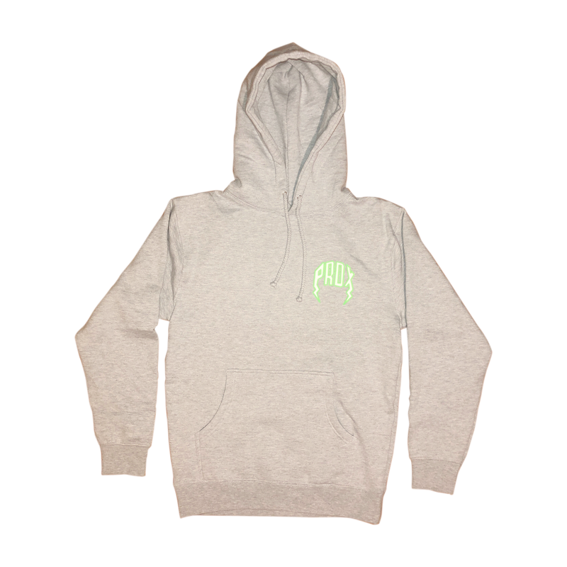 Lightning Arc Logo Pull-Over Hoodie (Gray/Neon Green)