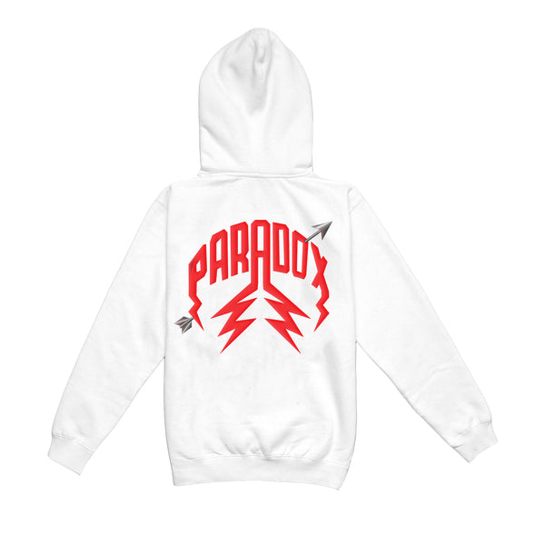 """SKELETON CUPID"" LIGHTNING ARC LOGO HOODIE (WHITE)"