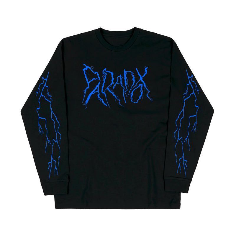 """Lightning Strike"" Long Sleeve Tee (Black/Blue)"