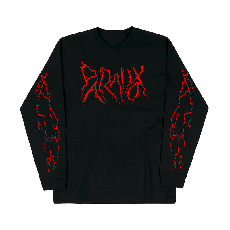 """Lightning Strike"" Long Sleeve Tee (Black/Red)"