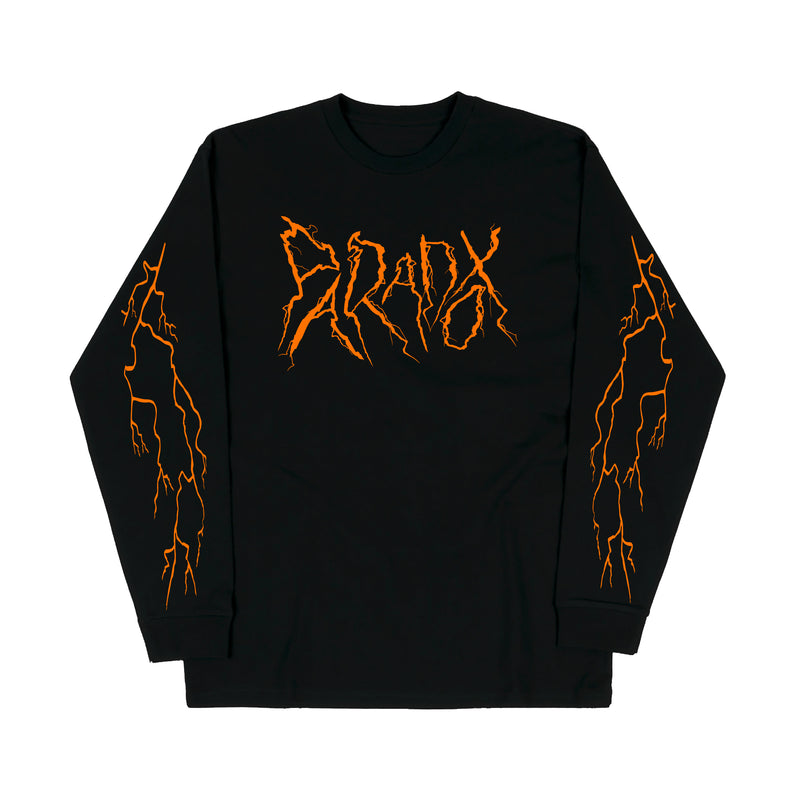 """Lightning Strike"" Long Sleeve Tee (Black/Orange)"
