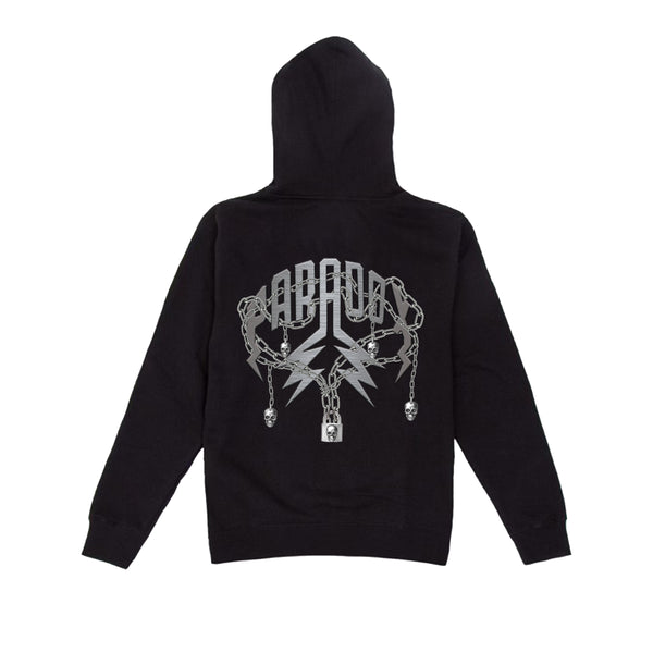 """SKULL CHAINS"" LIGHTNING ARC LOGO HOODIE (BLACK/METALLIC GREY)"