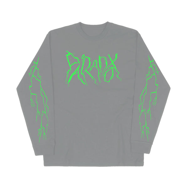 """Lightning Strike"" Long Sleeve Tee (Grey/Green)"
