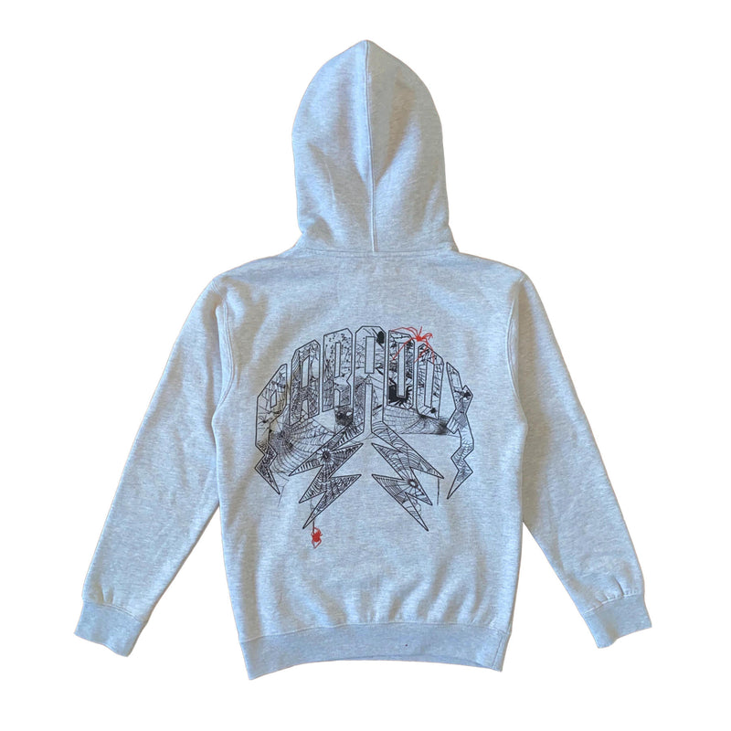Spider Lightning Arc Logo Pull-Over Hoodie (Grey)