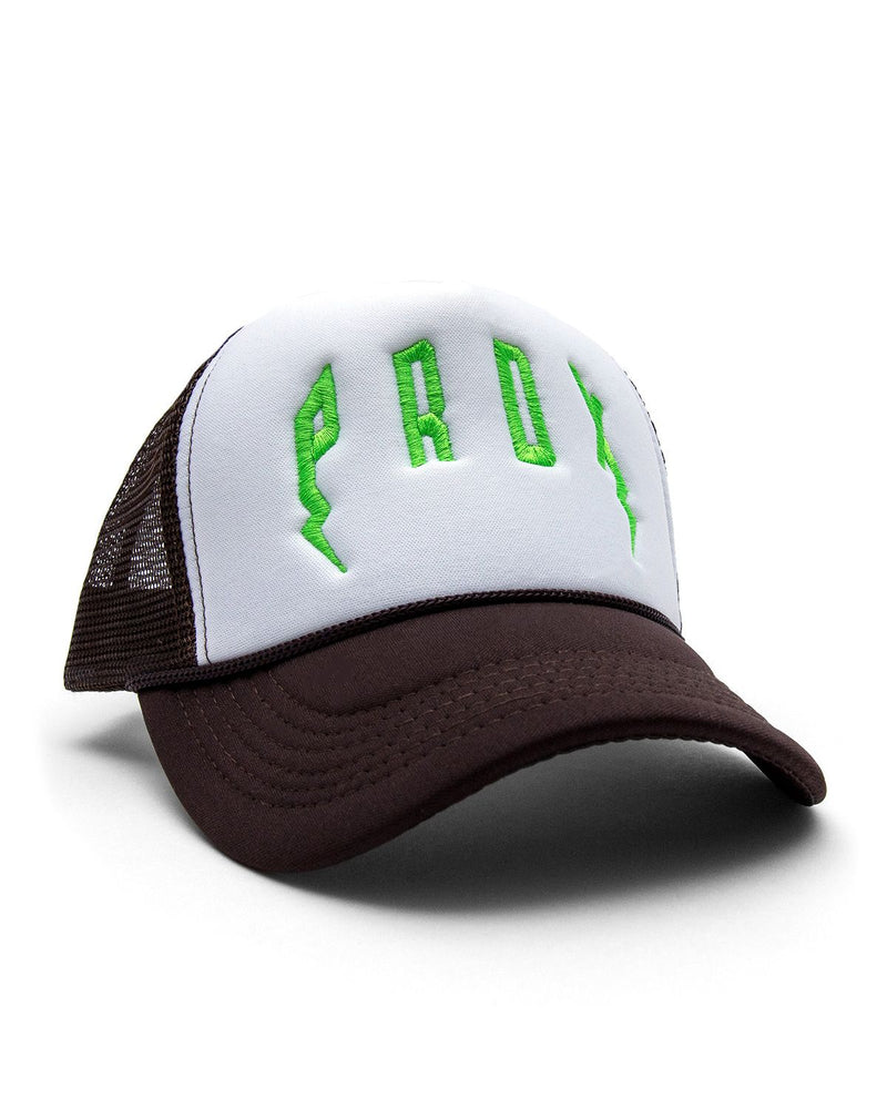PRDX Trucker Hat (Brown/White/Neon Green)