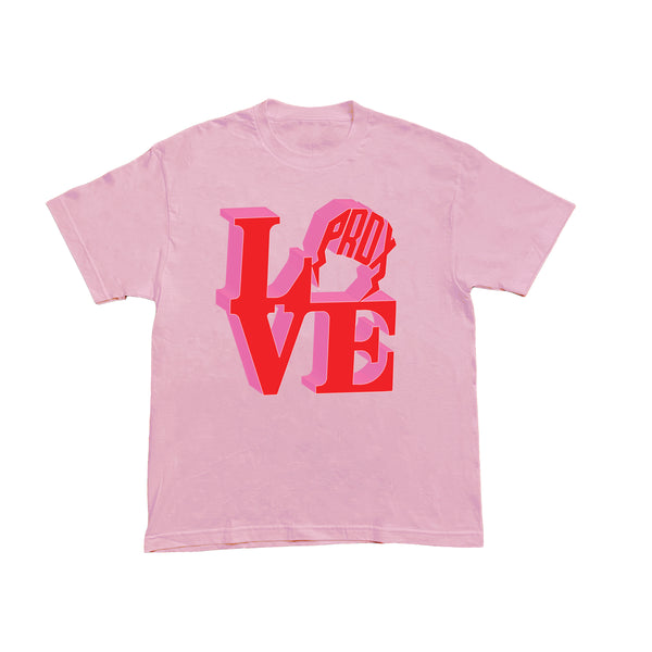 """PRDX LOVE SIGN"" LIGHTNING ARC LOGO TEE (PINK)"