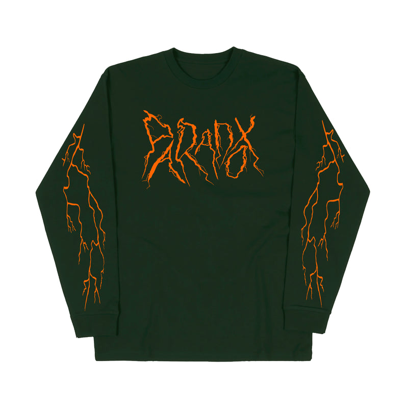 """Lightning Strike"" Long Sleeve Tee (Olive Green/Orange)"