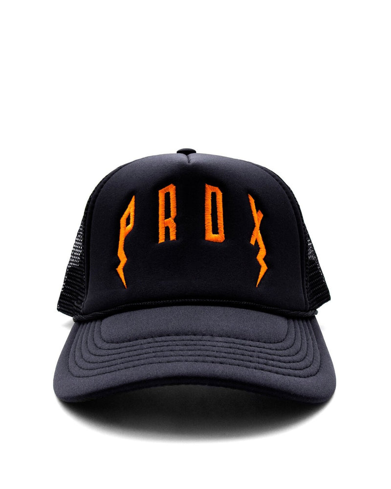 PRDX TRUCKER HAT (BLACK/BLACK/ORANGE)
