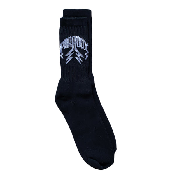 Crew Socks Lightning Arc Logo (2 Pack) - Black/White