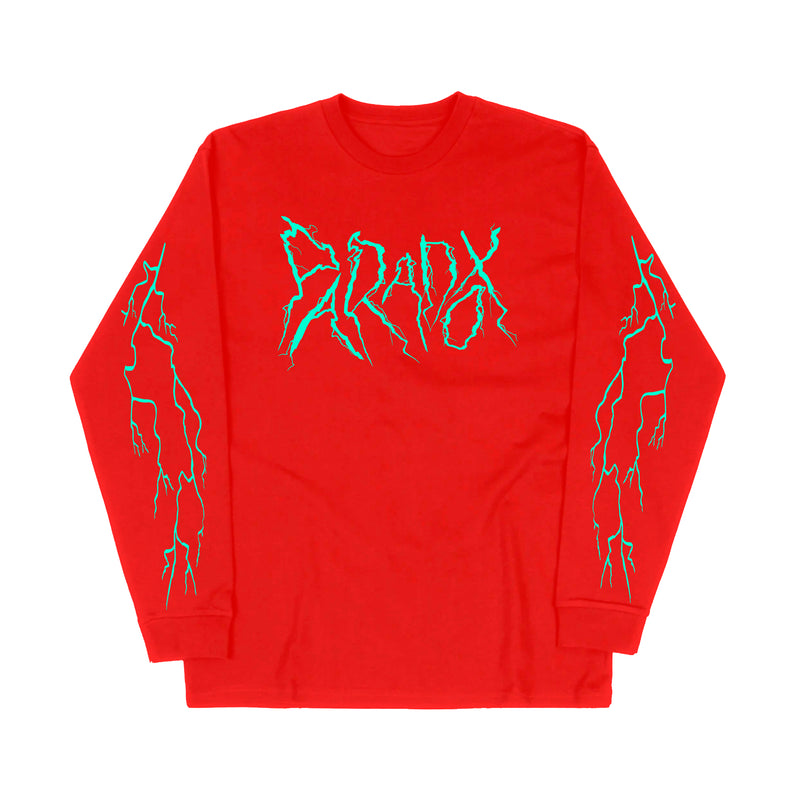 """Lightning Strike"" Long Sleeve Tee (Red/Teal)"