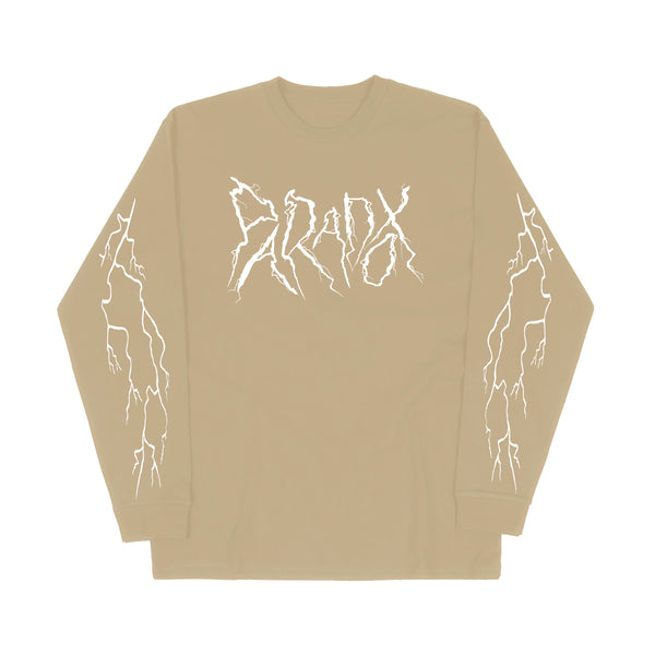 """Lightning Strike"" Long Sleeve Tee (Sand/White)"