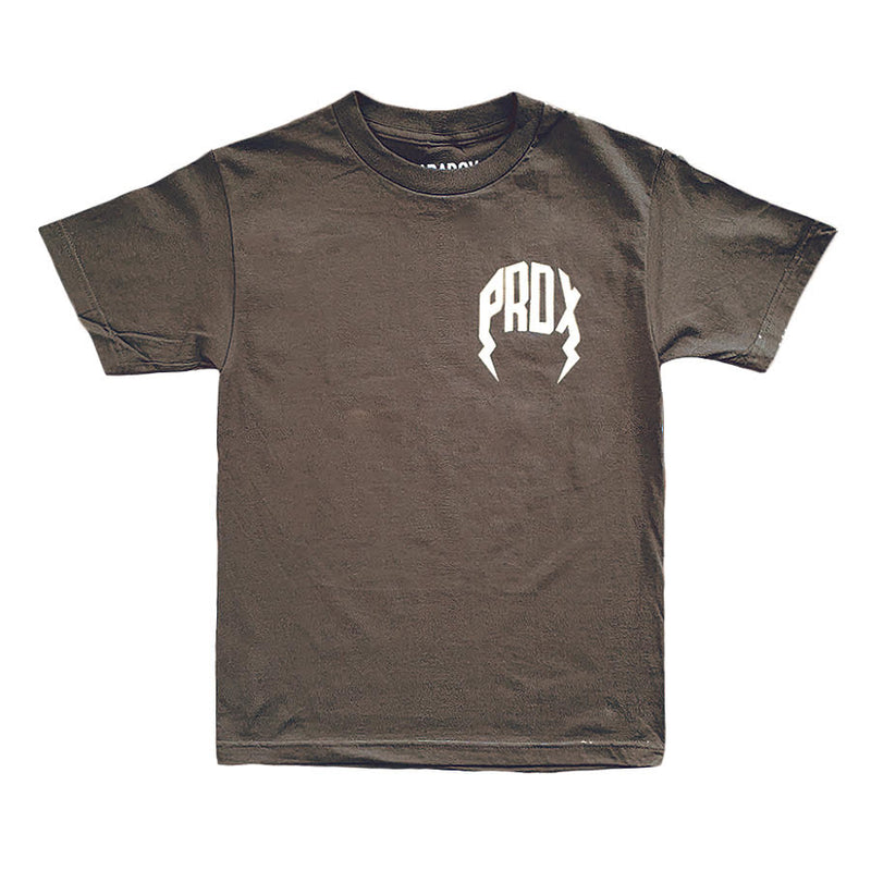 """NATURAL"" LIGHTNING ARC LOGO TEE (Brown/Tan)"