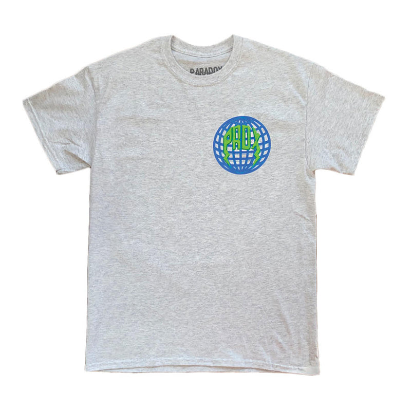 """Globe"" Lightning Arc Logo Tee - Gray"
