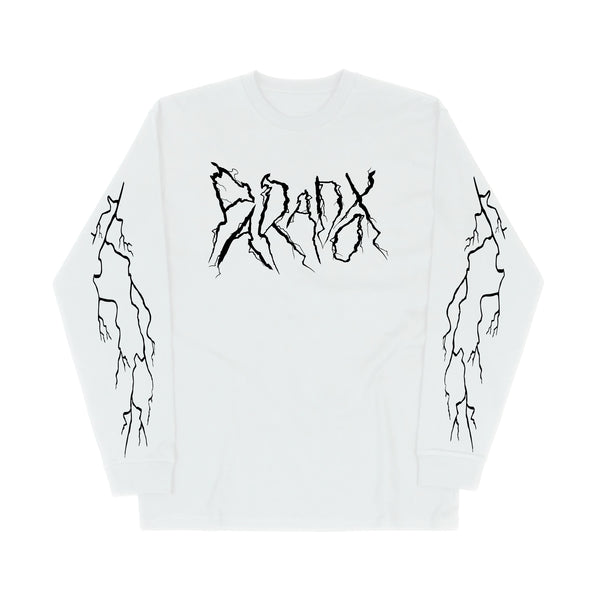 """Lightning Strike"" Long Sleeve Tee (White/Black)"