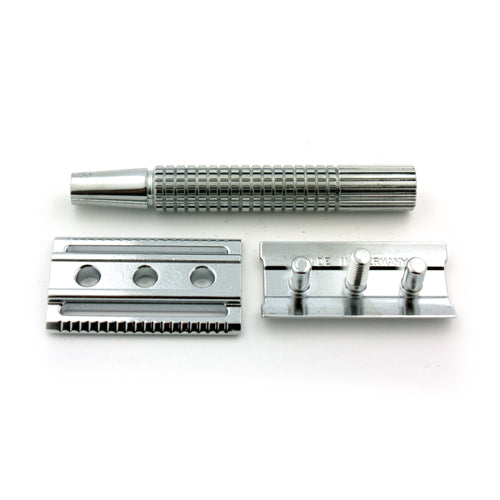 Timor Chrome-Plated Safety Razor, 80 mm Handle, with 10 Blades Pack