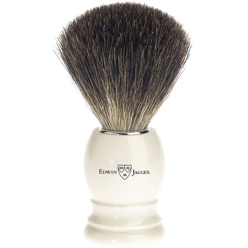 Edwin Jagger Shaving Brush, Best Black Badger, Imitation Ivory Plastic Handle