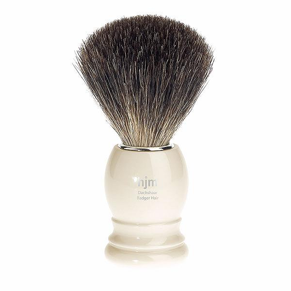 HJM Shaving Brush Pure Black Badger, Imitation Ivory Handle