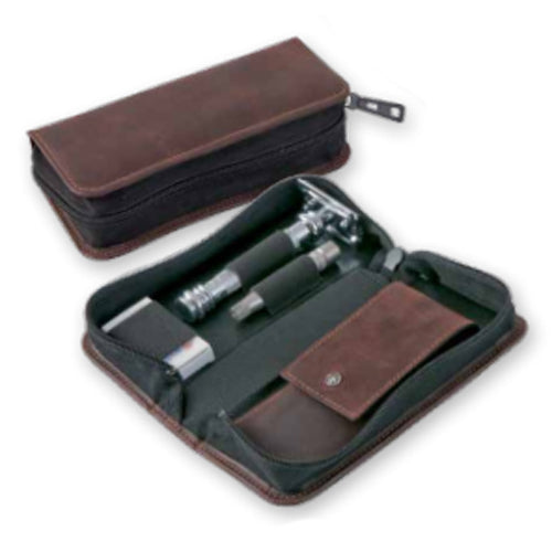 DOVO Safety Razor, Klipette & Manicure Set, Cowhide Leather