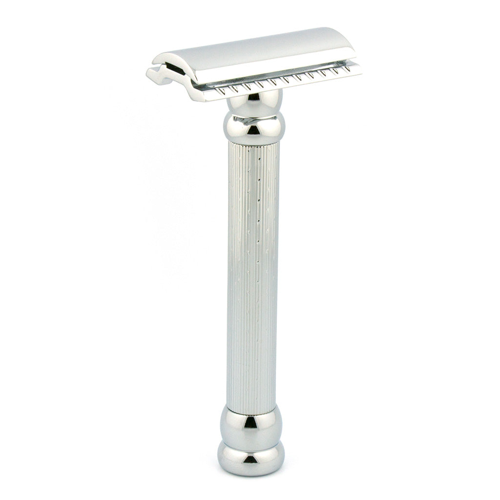 MERKUR 47C Closed Comb, Chrome Safety Razor,  Engine-Turned Long Handle
