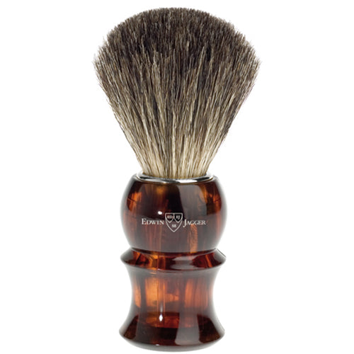 Edwin Jagger Shaving Brush, Pure Badger, Imitation Tortoise Shell Plastic Handle