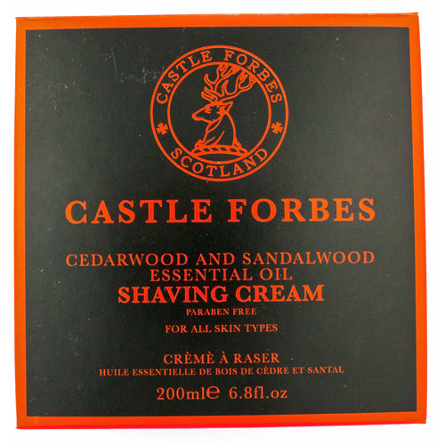 Castle Forbes Cedarwood and Sandalwood Essential Oil Shaving Cream, 200ml