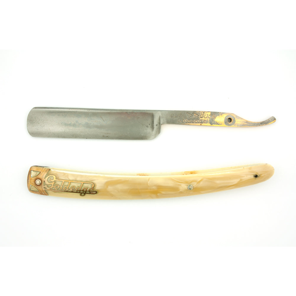 "Dubl Duck Goldedge 11/16"", Pearl Scales, Vintage Straight Razor"