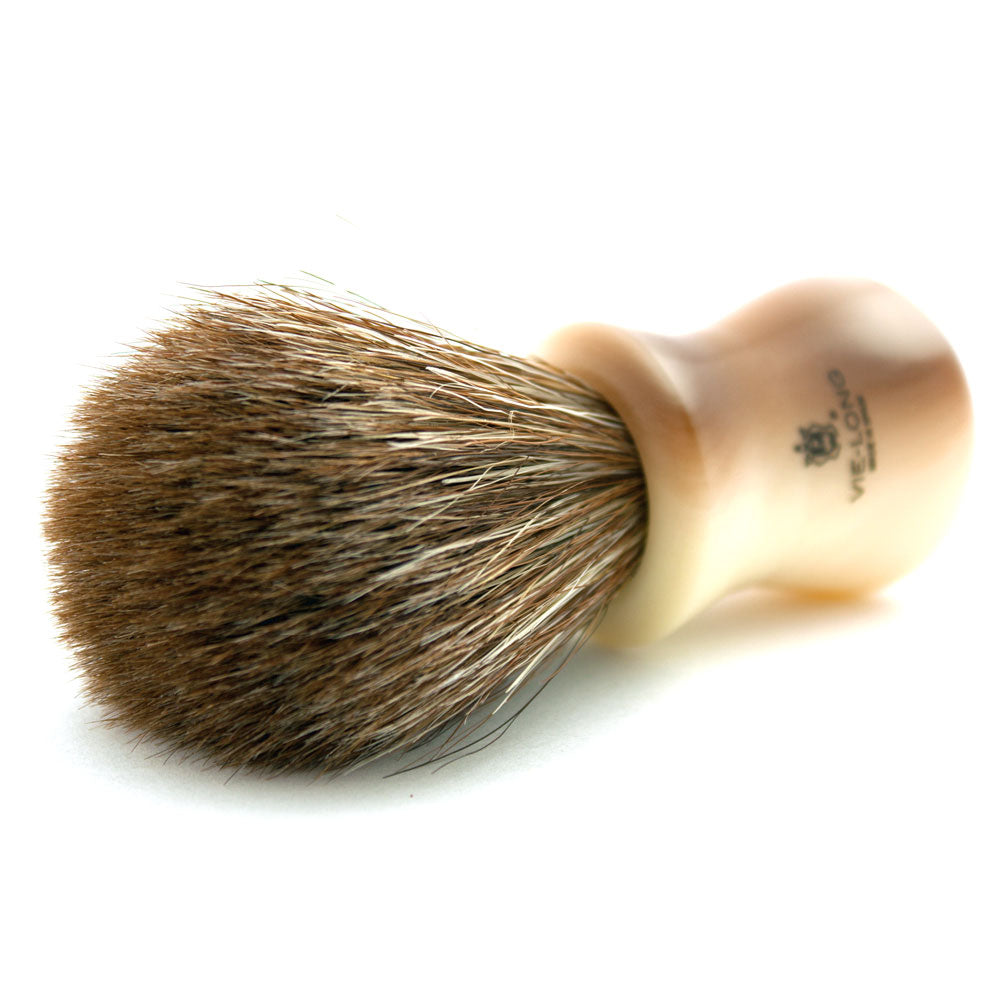 Vie-Long Brown Horse Hair, Acrylic Ivory & Brown Shaving Brush