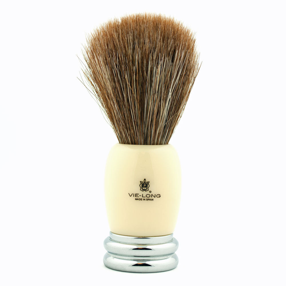 Vie-Long Brown Horse Hair, Ivory Acrylic and Silver Shaving Brush