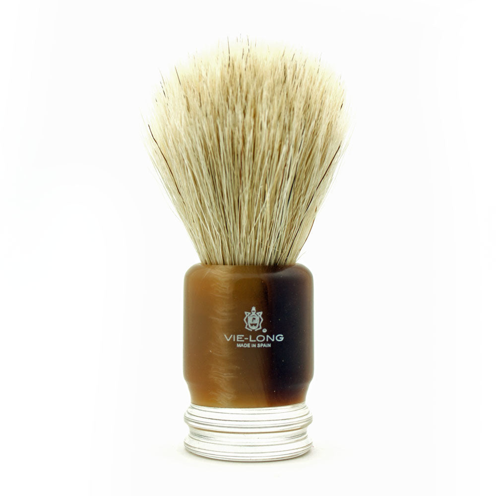 Vie-Long Horse Hair, Brown/Clear Acrylic Handle Shaving Brush