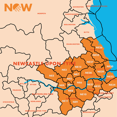 Full Circle Brew Co Delivery Map for Newcastle upon Tyne