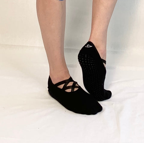 2 Strap Ballet Barre Socks-Black