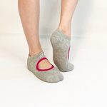 Mary Jane Skimmer Socks-Grey/Fuchsia