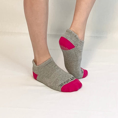Ankle Sock-Grey/Fuchsia
