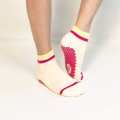 white yellow and fuchsia crew socks