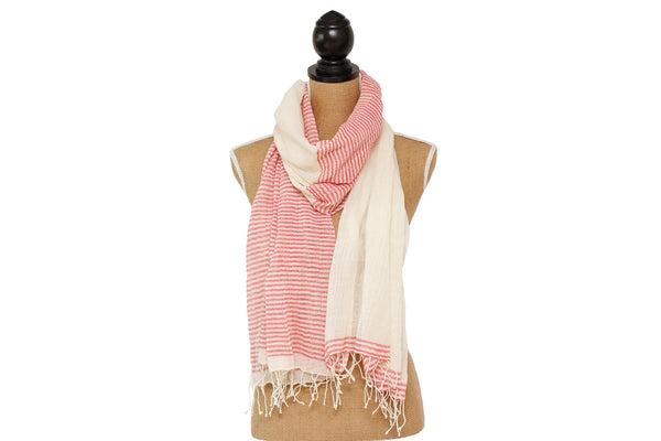 Aaron Red Striped Scarf