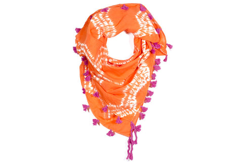 Shibori Square Scarf - Orange Sunset