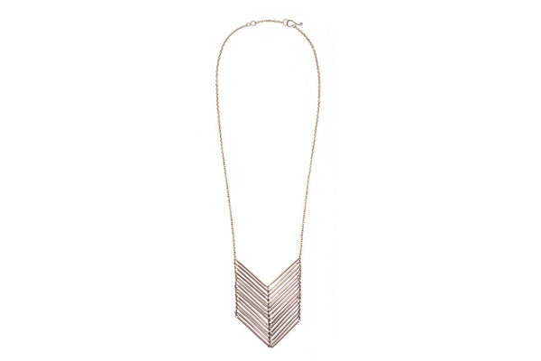 Stacked Chevron Necklace Silver