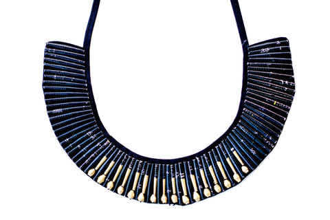 Beaded Collar Necklace Black