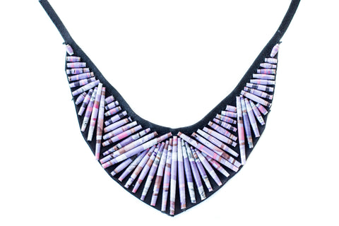 Beaded V Collar Necklace Purple