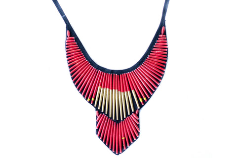 Beaded Bib Necklace Red