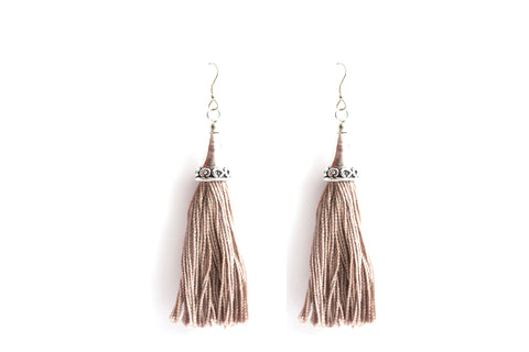 Tasseled Taupe Earrings