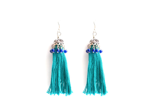 Tasseled Teal Earrings