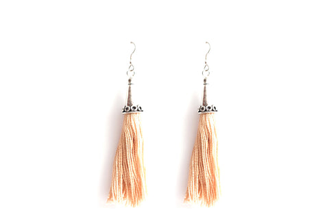 Tasseled Cream Earrings
